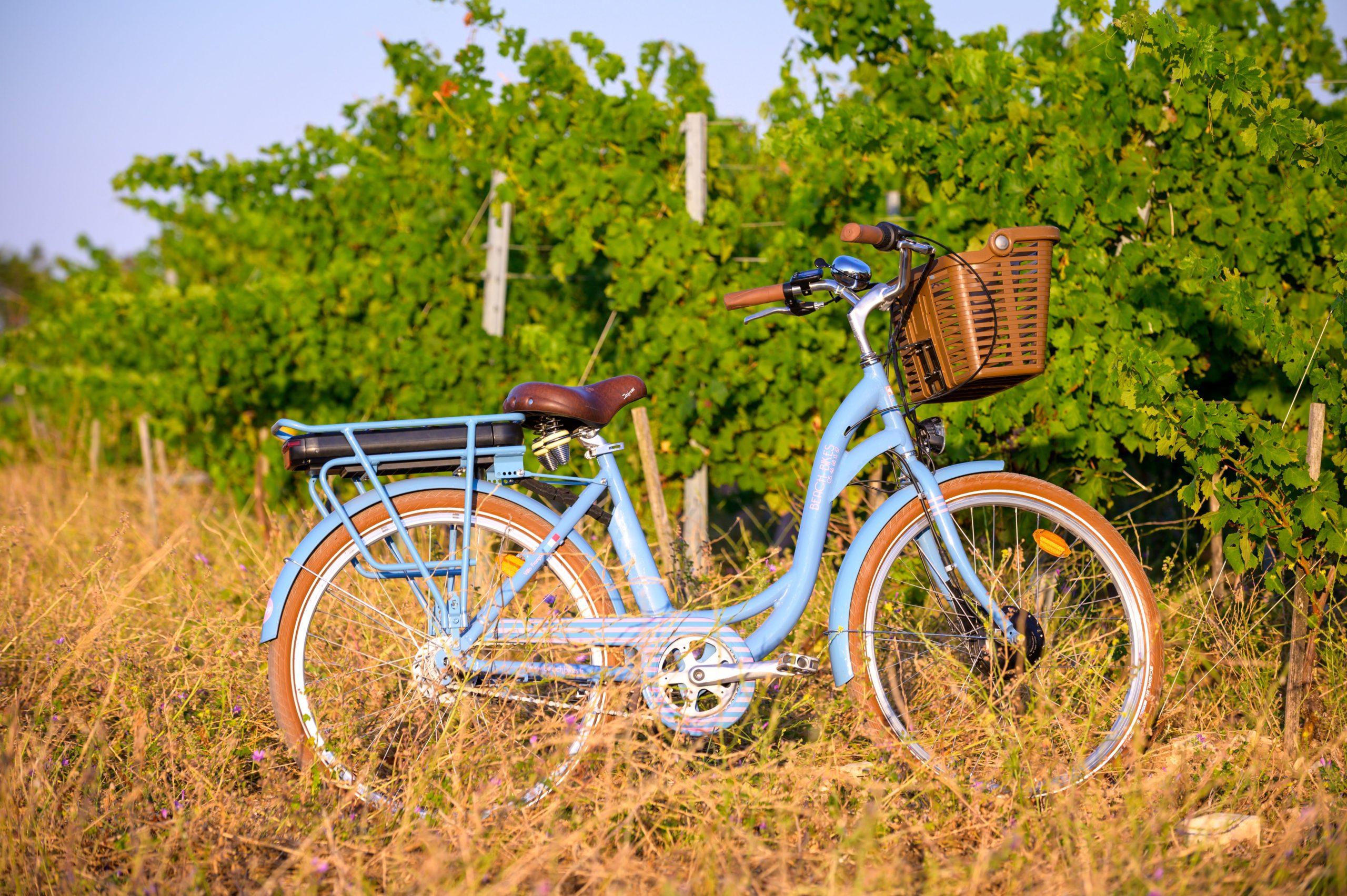 Vélo électrique bleu dans les vignes